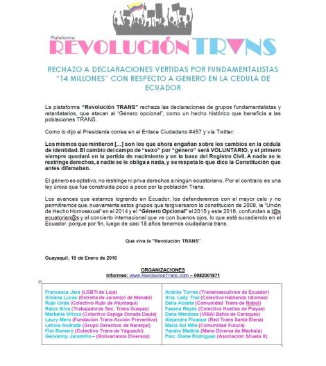"""RECHAZO A DECLARACIONES VERTIDAS POR FUNDAMENTALISTAS """"14 MILLONES"""" CON RESPECTO A GENERO EN LA CEDULA DE ECUADOR"""
