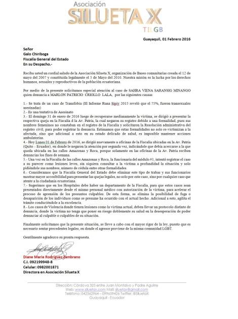 Carta a Fiscal Chiriboga sobre caso de Transfobia en Quito - Asociación Silueta X