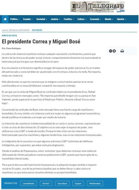 El Presidente Correa y Miguel Bosé - Opinion Diane Rodriguez