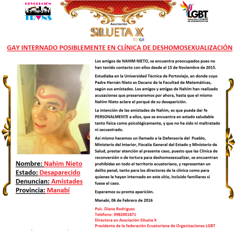 Gay internado posiblemente en clinica de deshomosexualización en Manabí - Asociación Silueta X