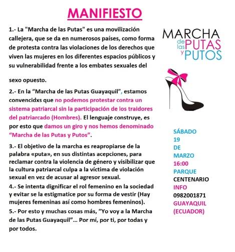 Manifiesto Marcha de las Putas Guayaquil