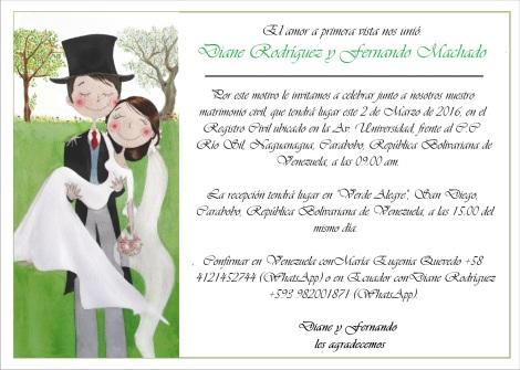 Matrimonio Civil de Diane Rodríguez y Fernando Machado - Invitación