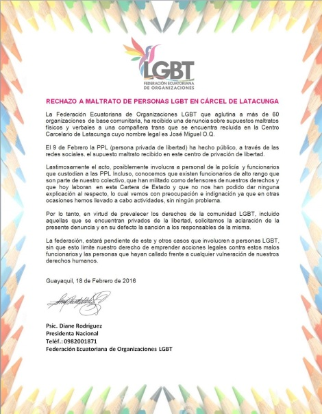 RECHAZO A MALTRATO DE PERSONAS LGBT EN CÁRCEL DE LATACUNGA - 2016