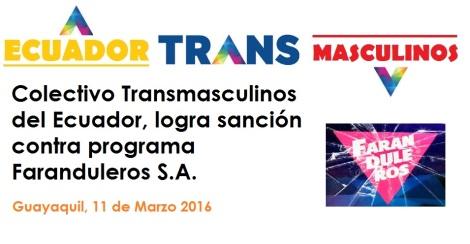 Colectivo Transmasculinos del Ecuador, logra sanción contra programa Faranduleros S.A.