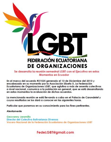 Federación Ecuatoriana de Organizaciones LGBT - Se está reuniendo con el Presidente de la República Rafael Correa Delgado