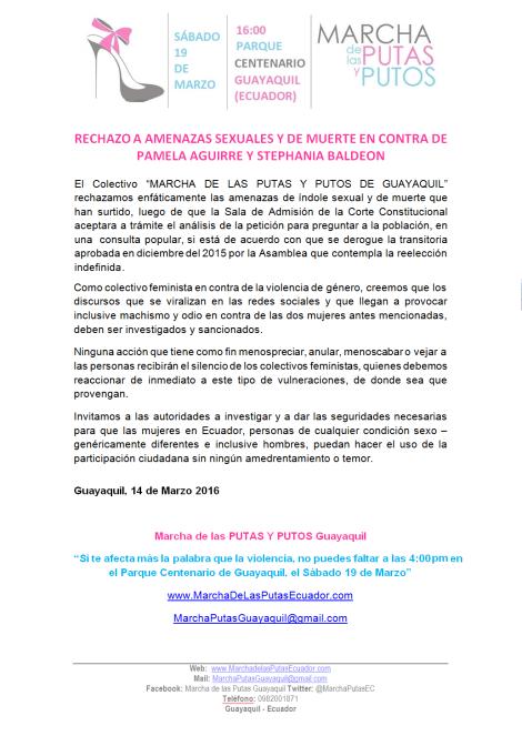 RECHAZO A AMENAZAS SEXUALES Y DE MUERTE EN CONTRA DE PAMELA AGUIRRE Y STEPHANIA BALDEON