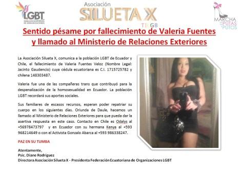 Sentido pésame por fallecimiento de Valeria Fuentes
