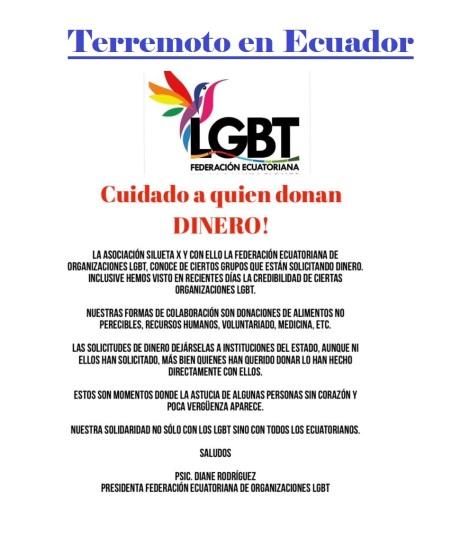 LGBT no donamos dinero Terremoto Ecuador - Federacion de Organizaciones LGBT