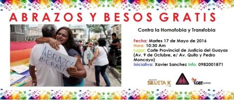 Abrazos gratis contra la homofobia lesbofobia y transfobia en Ecuador Asociacion Silueta X