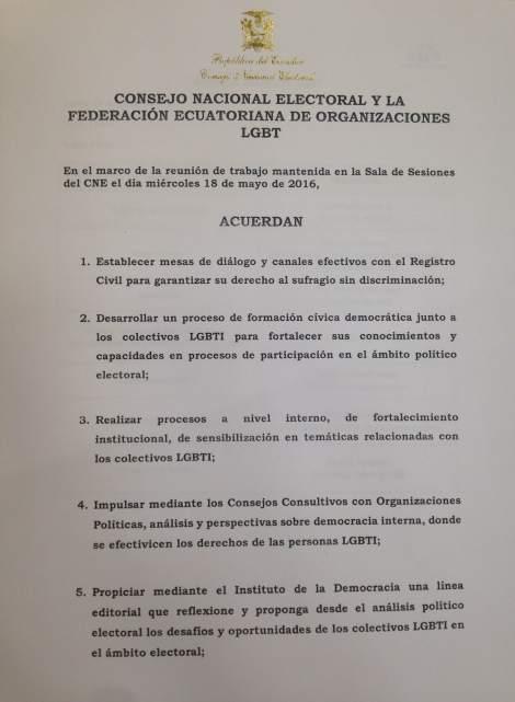 Acuerdos y compromisos del Consejo Nacional Electoral y la Federación ecuatoriana de organizaciones LGBT en favor de la población LGBTI de Ecuador (1)