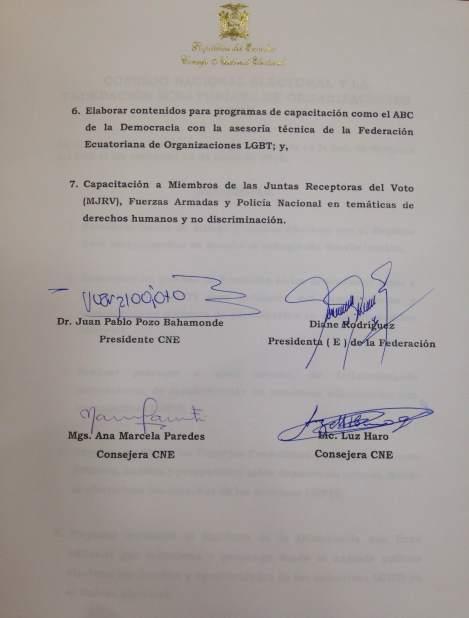 Acuerdos y compromisos del Consejo Nacional Electoral y la Federación ecuatoriana de organizaciones LGBT en favor de la población LGBTI de Ecuador (2)