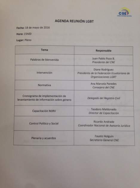 Agenda de trabajo entre la federación ecuatoriana de organizaciones LGBT y el consejo nacional electoral