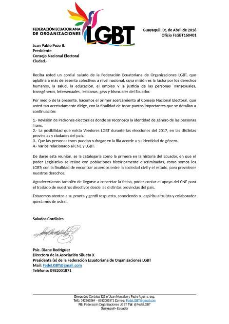 Oficio FLGBT160401 - Consejo Nacional Electoral - Solicitud de Reunión previo el cierre padrón