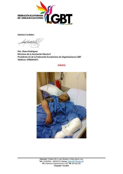 Gay escopolamido y a punto de perder el brazo solicita apoyo de la Policia y Ministerio de Salud (1)