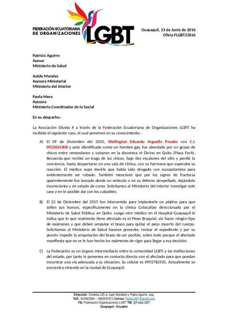 Gay escopolamido y a punto de perder el brazo solicita apoyo de la Policia y Ministerio de Salud (2)