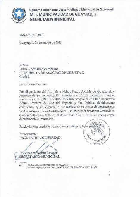Permiso Legal Marcha del Orgullo y Diversidad Sexual 2016 otorgado a la Asociación SIlueta X