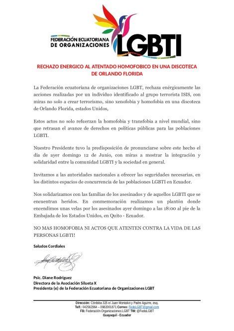 Rechazo a acto terrorista homofobico ocurrido en Orlando Florida desde Comunidad LGBTI de Ecuador