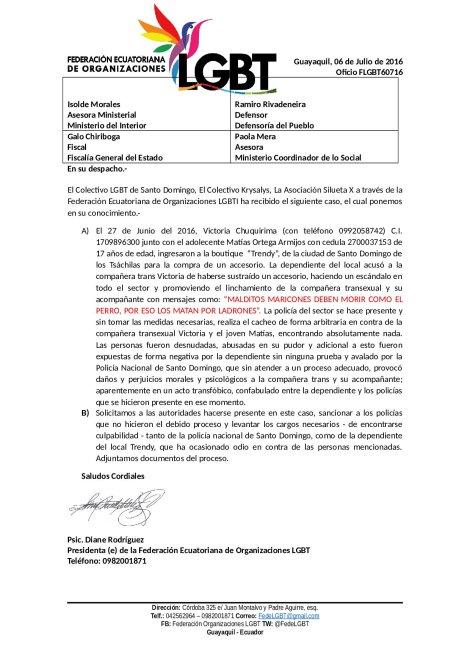 Linchamiento a Transexual y acompañante - federación ecuatoriana de organizaciones LGBT (2)