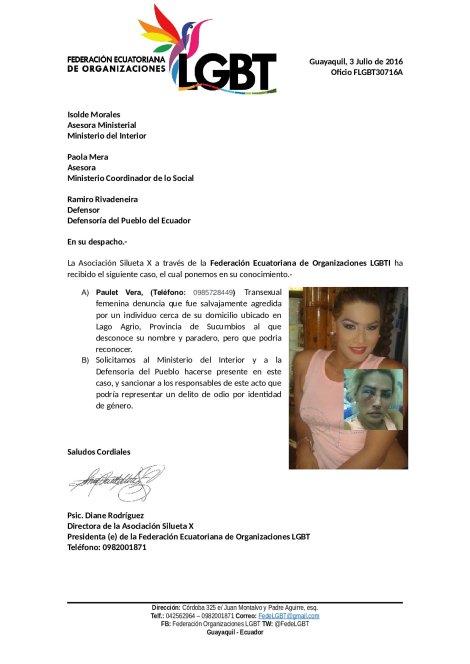 Oficio_FLGBT30716A Trans es golpeada en Lago Agrio Sucumbios Federación ecuatoriana de organizaciones LGBTI