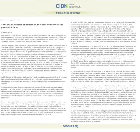 CIDH reconoce avances de derechos transgéneros en Ecuador