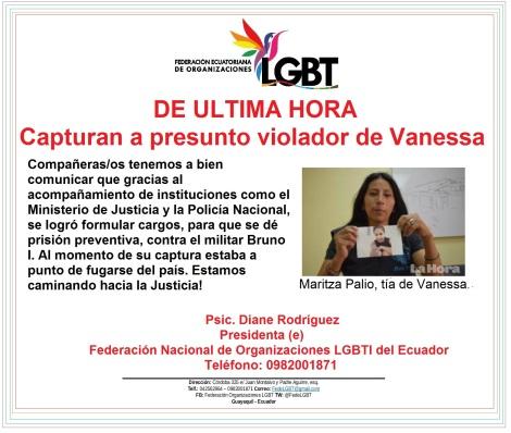 Comunicado de ultima Hora - capuran a presunto violandor de Vanessa