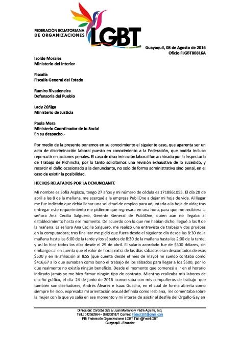 Discriminación Laboral a mujer lesbiana en Publione - Federación Ecuatoriana de organizaciones LGBTI (1)