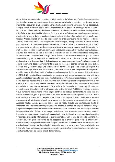 Discriminación Laboral a mujer lesbiana en Publione - Federación Ecuatoriana de organizaciones LGBTI (2)