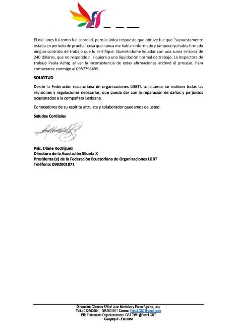 Discriminación Laboral a mujer lesbiana en Publione - Federación Ecuatoriana de organizaciones LGBTI (3)