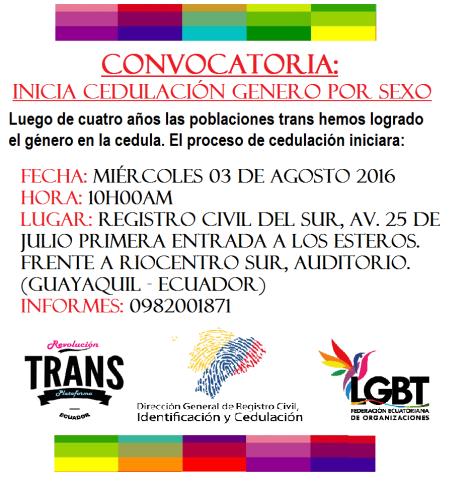 Inicio de cedulación genero por sexo para personas trans en Ecuador