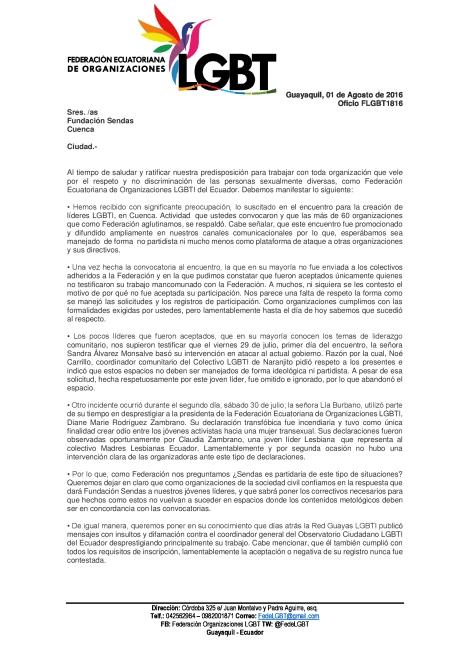 RECHAZO A ENCUENTROS DONDE SE CONVOCA A LIDERES LGBTI CON EL FIN DE ADOCTRINARLOS BAJO EL ODIO (2)
