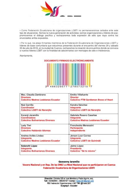 RECHAZO A ENCUENTROS DONDE SE CONVOCA A LIDERES LGBTI CON EL FIN DE ADOCTRINARLOS BAJO EL ODIO 2