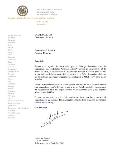 Asociación LGBT Silueta X de Ecuador en Registro de Organizaciones de la Sociedad Civil OEA - Organización de Estados Americanos