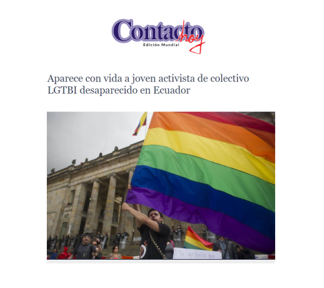 Aparece con vida joven activista LGTBI desaparecido en Santo Domingo-Asociacion Silueta X-Federacion Ecuatoriana LGBTI