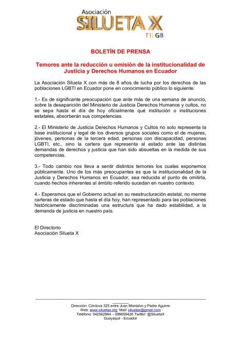 Temores ante la reducción u omisión de la institucionalidad de Justicia y Derechos Humanos en Ecuador-Asociacion Silueta X