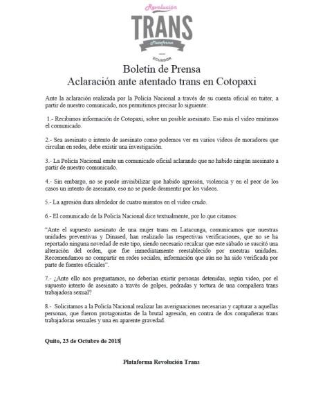 Aclaración ante atentado de Mujer trans en Cotopaxi - Plataforma revolución trans - Ecuador Transgénero
