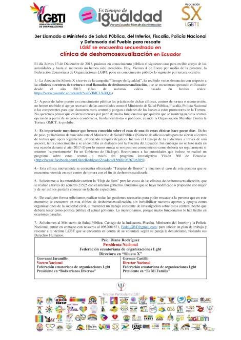 3er llamado sobre lgbt se encuentra secuestrado en clínica de tortura o mal llamada de deshomosexualización en ecuador - llamado a rescate de las autoridades - asociación silueta x -