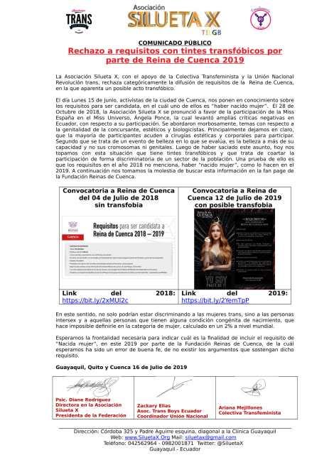 Comunicado Público - Rechazo a requisitos con tintes transfóbicos por parte de Reina de Cuenca 2019 - Asociación Silueta X - Unión Nacional Revolución Trans y Colectiva Transfeminista