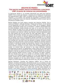 Boletín de Prensa - Tres perros sueltos atacan brutalmente a una joven LGBT al punto de comerse sus extremidades - Federación Ecuatoriana de Organizaciones LGBTI-1