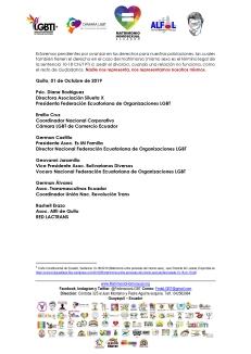 Boletín de Prensa - 172 parejas han registrado su voluntad de realizar su matrimonio homosexual en Ecuador 2