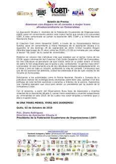 Boletín de Prensa - Asesinan con disparo en el corazón a mujer trans afrodescendiente en Esmeraldas-1