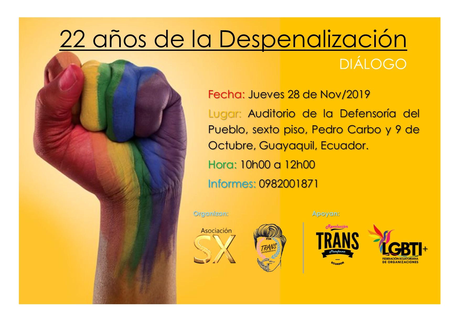 Coloquio 22 años de la Despenalización organizada por la Asociación Silueta X y Transmasculinos Ecuador