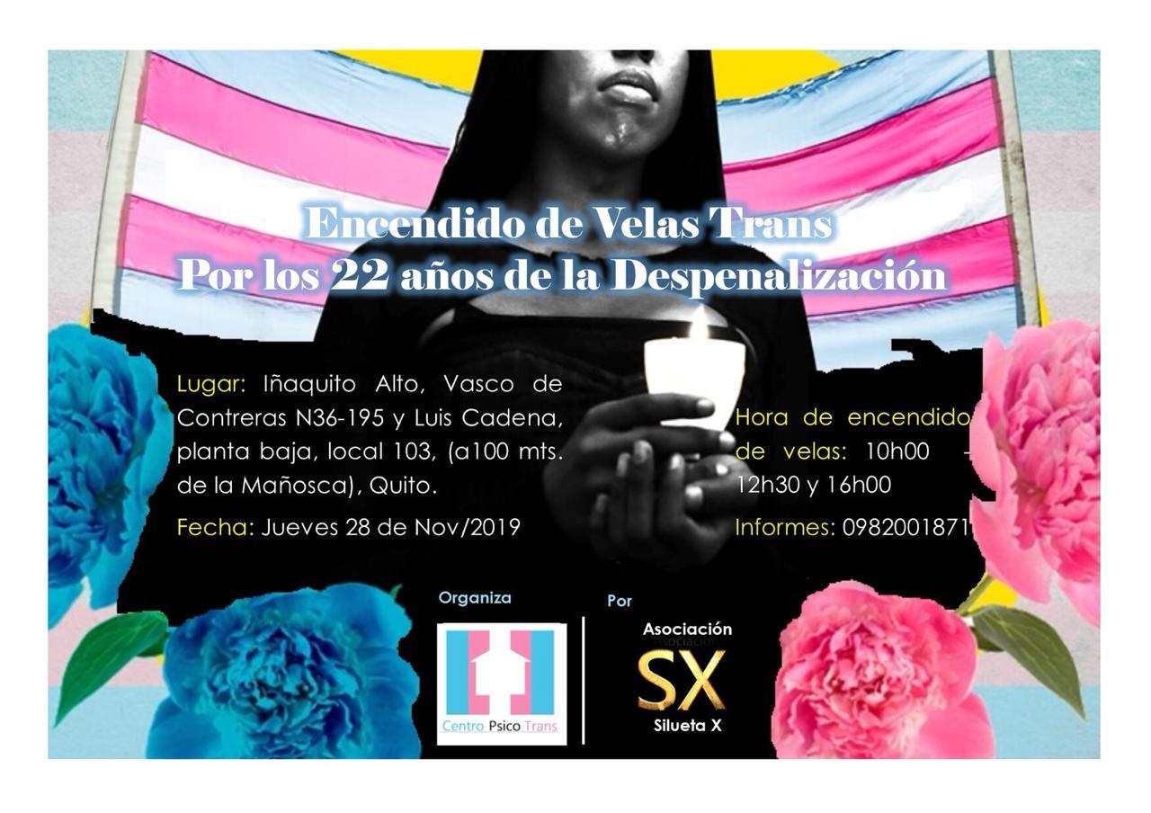 Encendido de Velas Trans Por los 22 años de la Despenalización en Ecuador-Centro Psico Trans de la Asociacion Silueta X